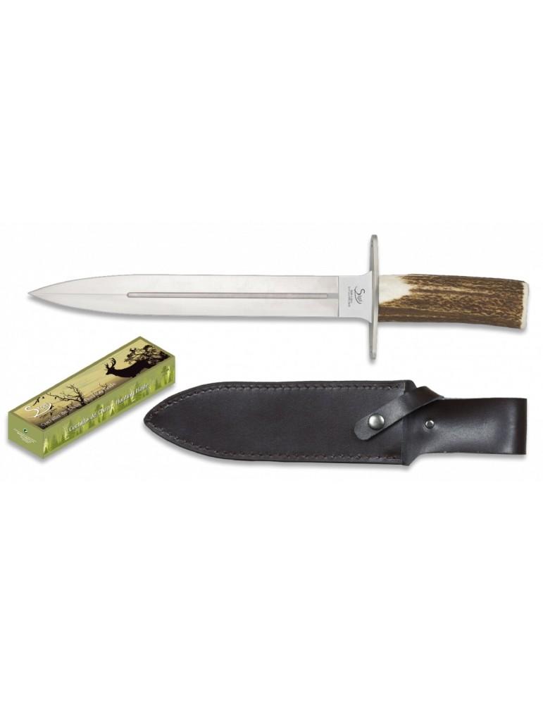 Dague de chasse lame 25 cm et manche en bois de cerf